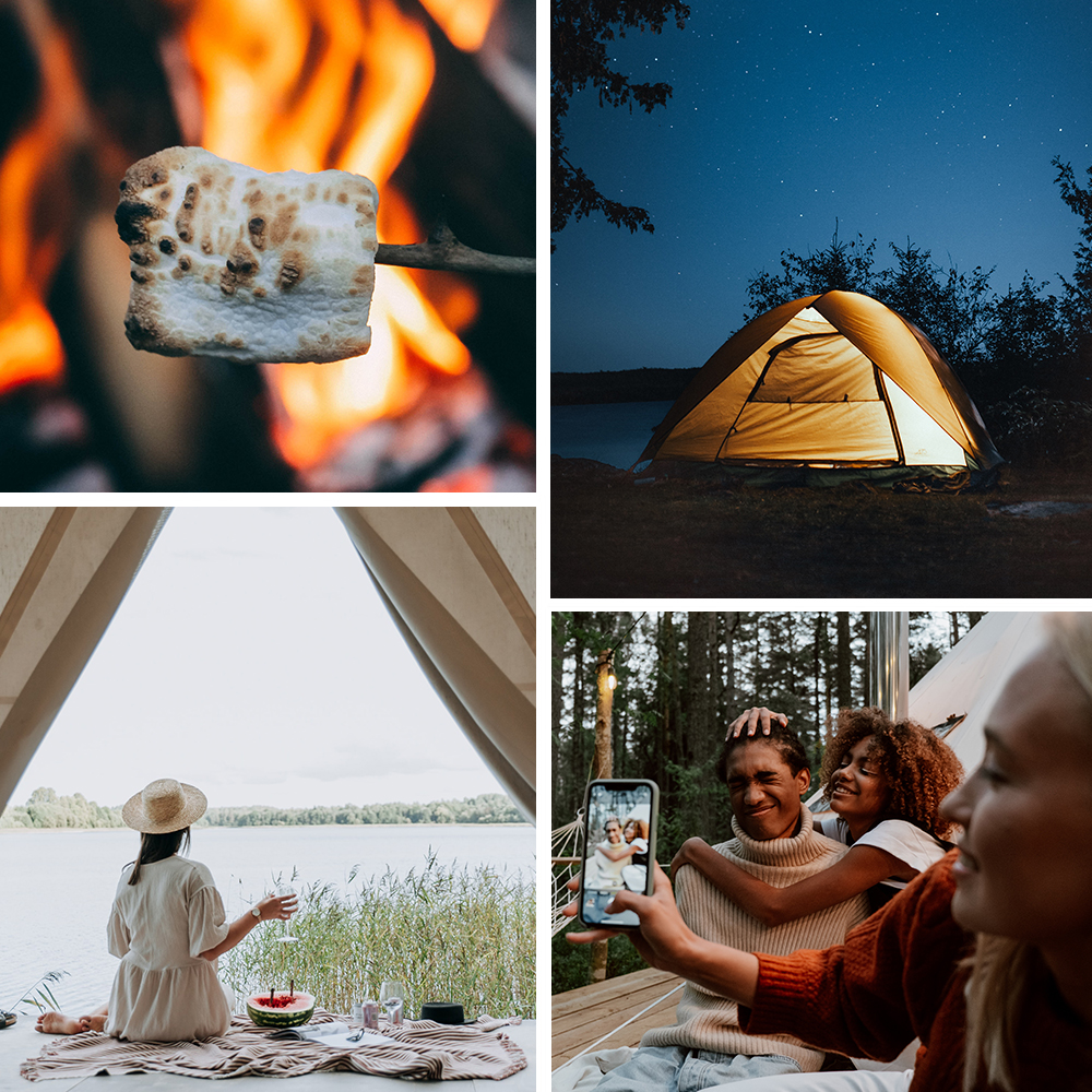 collage of camping