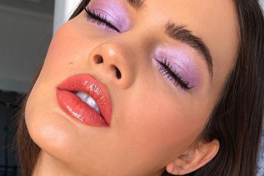 model with lavender eyeshadow