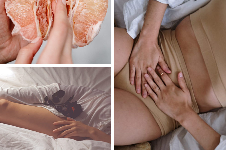 collage of period cramps