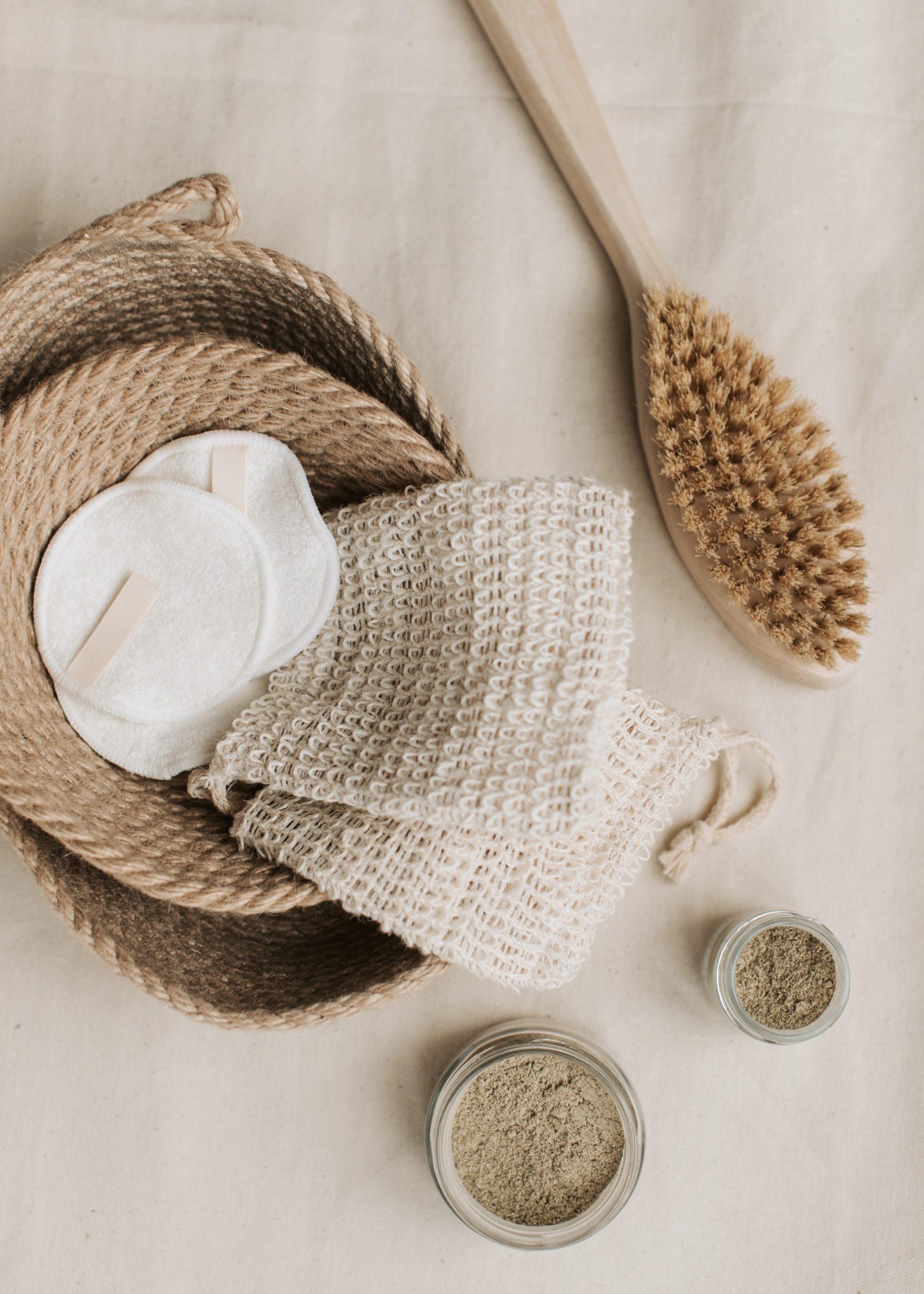 basket of eco friendly skincare tools
