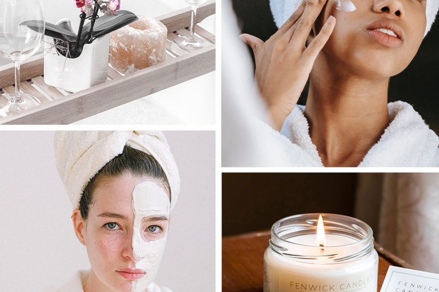 collage of skincare and relaxtion