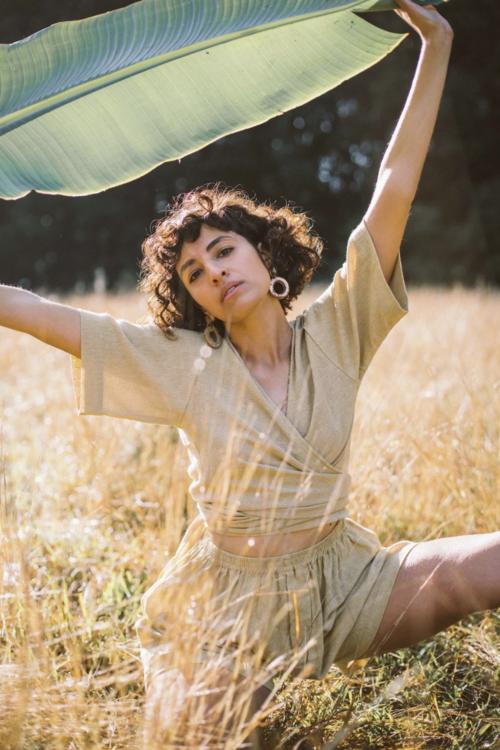 fashion model in hemp clothing