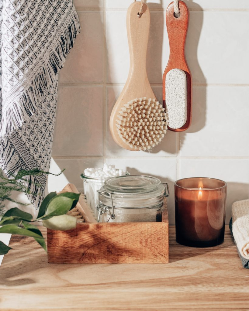 sustainable tools hanging in a bathroom