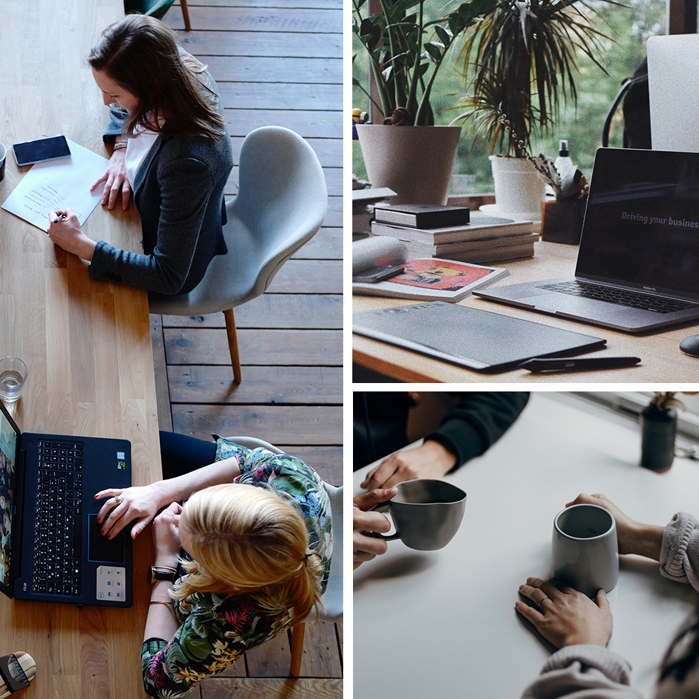 Collage of wellbeing in a workplace