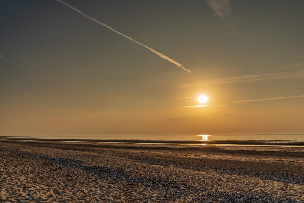 Sunset over the beach on the Welsh coast near Prestatyn