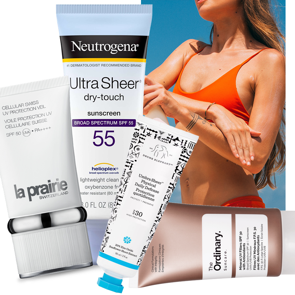 collage of SPF products