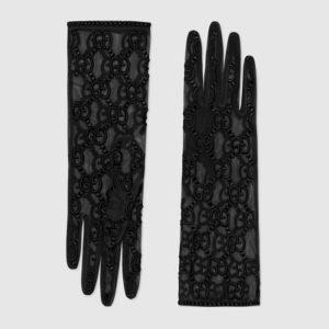 gucci black monogram gloves