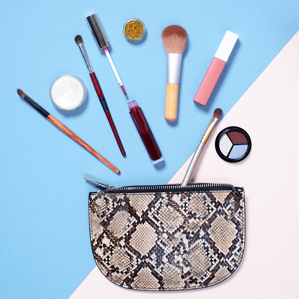 beauty products on a pastel background