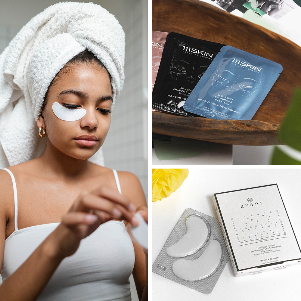 collage of eye pads that work