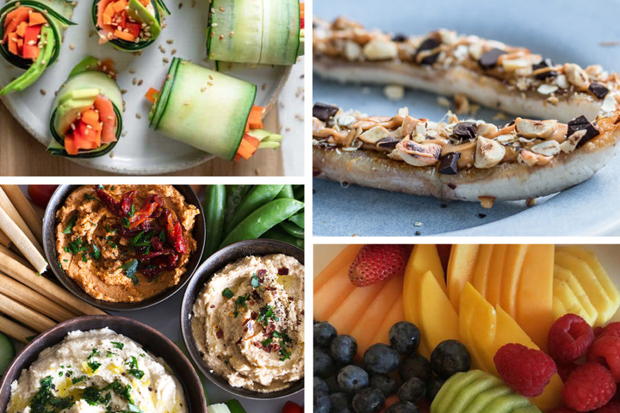 collage of healthy summer snacks