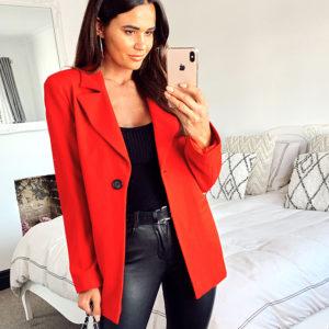 model wearing a red blazer