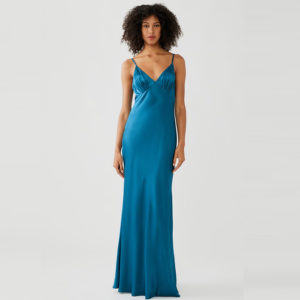 blue satin maxi dress