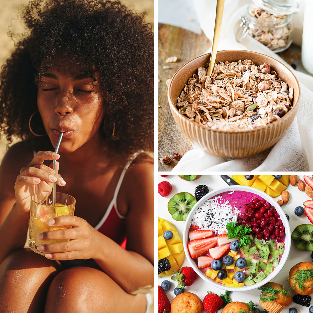 collage of healthy foods and drink