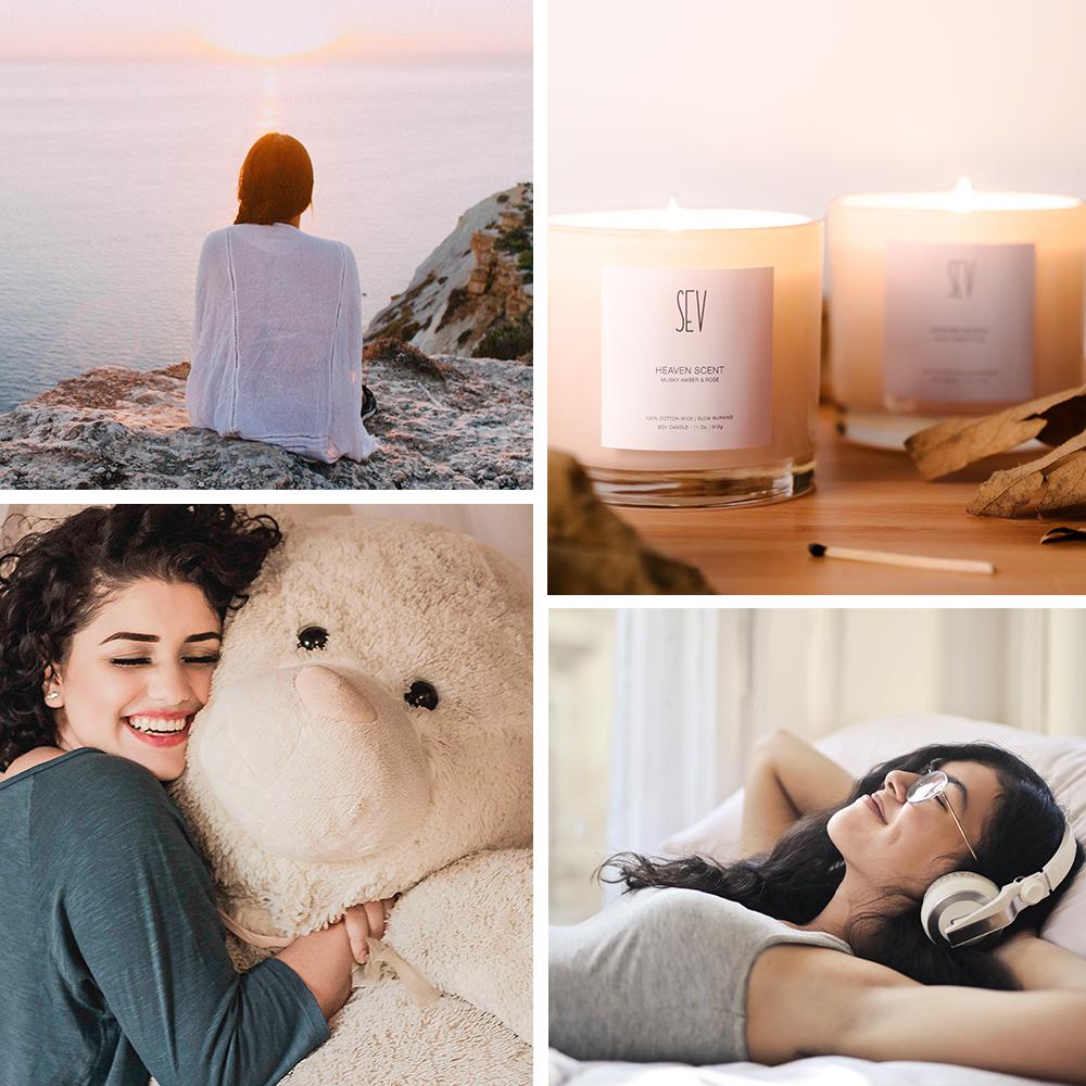 collage of self care using senses