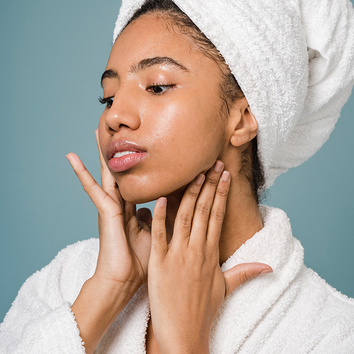 model with clear skin