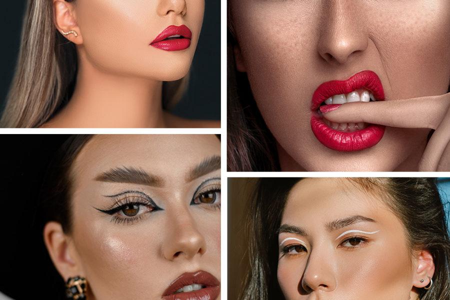 collage of eyeliner trends